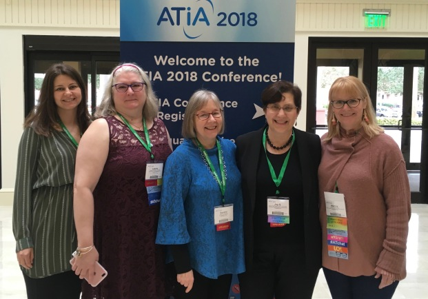 AT@ATIA From Left: Melissa Spade, Speech Pathologist; Laurie G. McGowan, AT Specialist; Sandy Masayko, Director of AT; Joy S. McGowan, Director of Augmentative Communication; Marcia Leinweber, AT Specialist