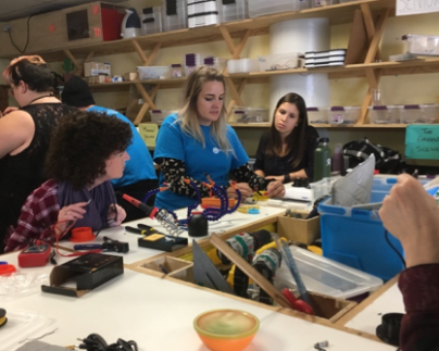 Mary Elizabeth from Project Vive taught soldering and switch assembly to ES staff members in Workshop 2.